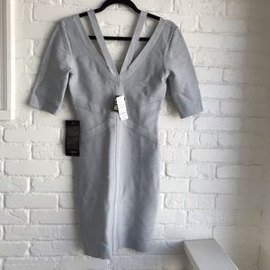 NWT Bebe Gray Bondage Cocktail Dress Gray Medium